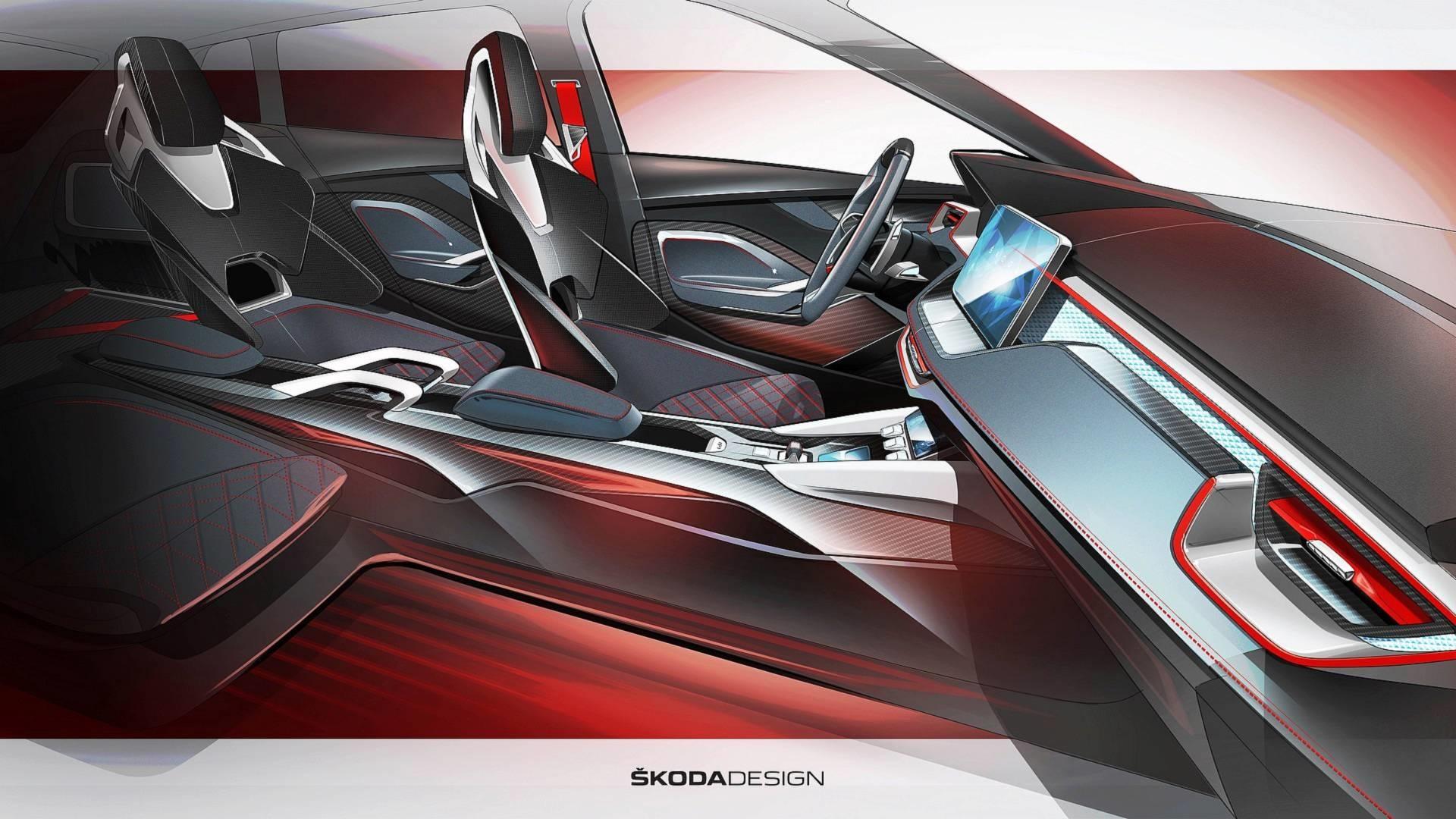 斯柯达VISION RS设计图公布 配备悬浮大屏