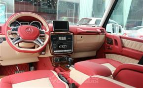 奔驰G500改装红白双色真皮内饰,加装菱形格设计!