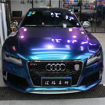 奥迪RS7全车装贴钻石高雅蓝进口车身膜