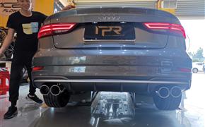 奥迪A3改装RES中尾段四出带阀门排气+ACI动力升级