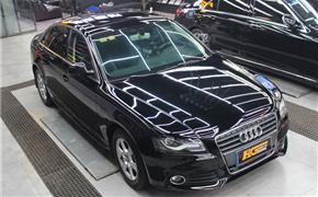 奥迪A4L汽车改色贴膜实体店 美国进口TeckWrap高亮黑