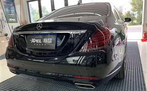 奔驰S贴XPEL熏黑灯膜 不开灯的情况下50%透光率的,刚刚好