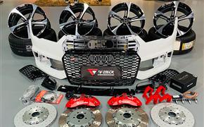 奥迪A7改装升级RS刀锋轮毂+BREMBO大六活塞刹车+RS包围