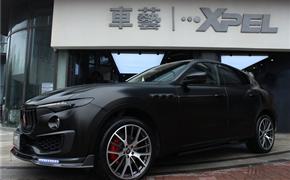 玛莎拉蒂莱万特改装20寸锻造轮毂,碳纤维包围,全车电光黑改色贴膜
