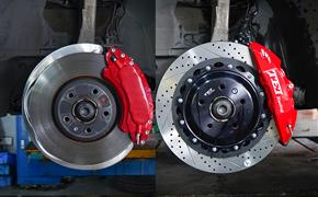 奥迪A4L刹车改装国产品牌TEI Racing,前轮刹车改装P40NS卡钳套件