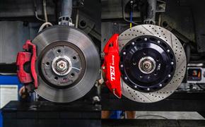 广汽传祺GS4刹车升级案例,改装TEI Racing P40NS刹车卡钳套件